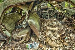 Scrap car  in the  woods Stock Image