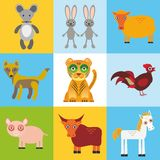 Scrap card with animals, seamless pattern. Vector Stock Photos