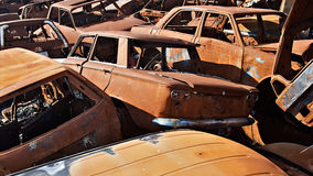 Scrap cars. A lot of used cars in the junkyard Royalty Free Stock Images