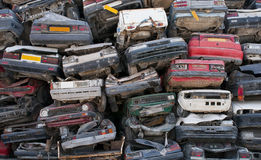 Scrap cars for recycling. From a recycling industry in Cyprus Royalty Free Stock Photos