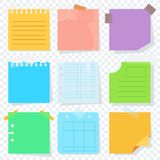 Scrap color paper transparent. Bright square colored sheets of paper for notice. Kanban, notes, reminder of the action plan. Flat vector cartoon illustration royalty free illustration