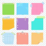 Scrap color paper on transparent. Bright square colored sheets of paper for notice. Kanban, notes, reminder of the action plan. Flat vector cartoon illustration stock illustration
