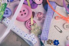 Scrap details. Scrapbooking craft materials and tools for design Royalty Free Stock Photography