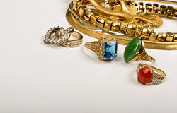 Scrap Gold Jewelry. Scrap gold jewelry with room for your store advertisement Stock Photos