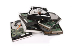 Scrap hard disk. Some damage to the old hard drive with white background stock image