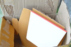 Scrap hard paper for recycle in brown box Royalty Free Stock Images