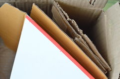 Scrap hard paper for recycle in brown box Royalty Free Stock Image