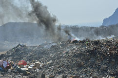 Scrap-heap 21. A landscape on scrap-heap in smoke royalty free stock photo
