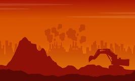 Scrap heap with pollution industry bad environment. Illustartion stock illustration
