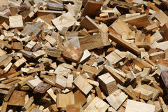 Scrap heap of wooden planks Stock Photos