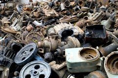 Scrap Iron & Steel. Piled with old iron and steel recycling Reuse royalty free stock photography