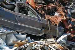 Scrap and junk pile. Scrap metal, plastic wrecked car Royalty Free Stock Photography