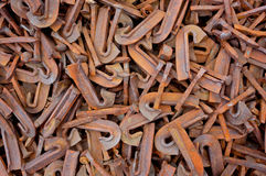 Scrap Metal 02. Pile of scrap steel from railway construction Royalty Free Stock Photo