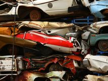 Scrap metal. Crushed cars to be used as scrap metal Royalty Free Stock Photo