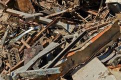 Scrap metal. Piled in port docks for export Stock Image