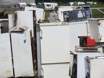 Scrap metal. Old fridge -freezers, scrap metal stock photos