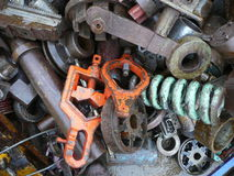 Scrap metal. Diverse scrap metal with large iron parts Royalty Free Stock Photography
