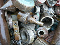 Scrap metal. Diverse scrap metal with large iron parts Royalty Free Stock Images