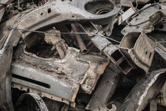 Scrap metal of cars. Pile of scrap metal background of cars Royalty Free Stock Photos