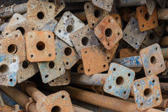 Scrap metal from construction. Scrap left over from the building construction waiting for dispose stock image