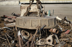 Scrap metal electro magnet Stock Images