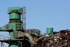 Scrap metal factory. Processing factory for scrap metal and iron Stock Image