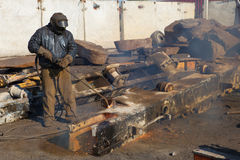 Scrap metal gas welding for refining Royalty Free Stock Photography