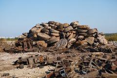 Scrap metal heap outdoors Royalty Free Stock Image