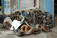 Scrap metal, old car parts. In a garage Royalty Free Stock Images