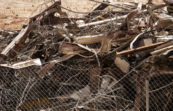 Scrap Metal Pile After Demolition. A pile of various scrap metal from a building demolition at a temporary scrapyard near the site Stock Images