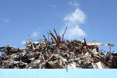 Scrap metal. Pile of scrap metal at a recycling facility Royalty Free Stock Photo