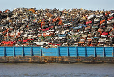 Scrap Metal Recycling Barge Stock Photo