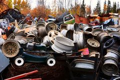 Scrap Metal Recycling Facility. An image of a large pile of scrap metal at a recycling facility stock photo