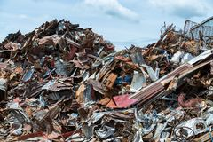Scrap metal on recycling plant site, Recycling industry stock photography