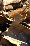 Scrap metal steel. Plates in a tangled rusting pile Royalty Free Stock Photo