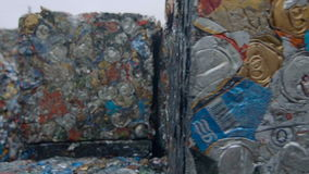 Scrap Metal Tin Cans in Compressed Blocks stock video