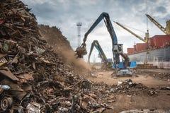 Scrap metal transshipment port. Stock Photography