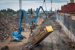 Scrap metal transshipment port. Royalty Free Stock Photos