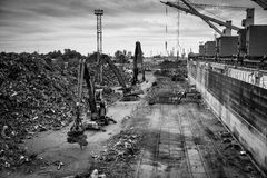 Scrap metal transshipment port. Royalty Free Stock Photography
