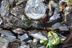 Scrap metal trash compacted waste for recycling Stock Image
