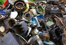 SCRAP METAL. USED PARTS. METAL SCRAP USED MACHINE PARTS. RAW MATERIALS FOR REMELTING stock photo