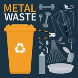 Scrap metal waste objects in vector. Garbage bin for recycling metal objects. Vector illustration Royalty Free Stock Photo