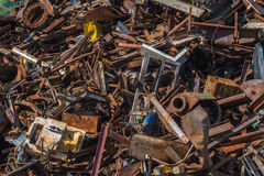 Scrap metal waste in a recycling yard Stock Image