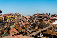 Scrap metals. Scrap metal and wonderful blue sky Stock Photos