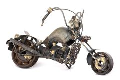 Scrap Motorcycle Model. A model of a motorcycle made out of bits and pieces of metal scrap Stock Images