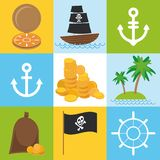 Scrap nautical card with sea objects collection. seamless pattern. Vector Stock Photo