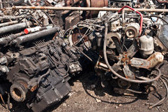 Scrap with old motors on scrap-heap Stock Photography