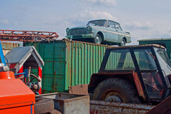 Scrap with old vehicles on scrap-heap Royalty Free Stock Photos