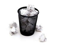 Scrap Paper. A bin full of crumpled pieces of paper stock image