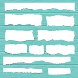 Scrap paper. On wooden background. Torn pieces of white sheet. Flat vector cartoon illustration. Objects isolated royalty free illustration